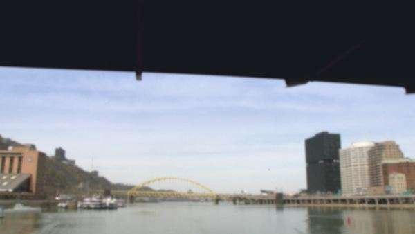 Passing under the Smithfield Street Bridge in Pittsburgh, Pennsylvania. Royalty-free stock video