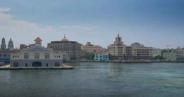A daytime exterior establishing shot of the Havana, Cuba skyline with the Terminal Sierra Maestra in the foreground. Royalty-free stock video