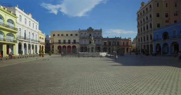 A daytime morning establishing shot of Havana's Old Town Square.  Royalty-free stock video