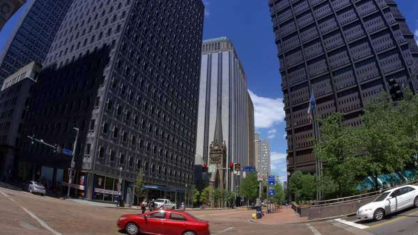 An intersection in downtown Pittsburgh, PA. Royalty-free stock video