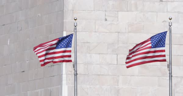 A slow motion close up shot of American Flags at the base of the Washington Monument blowing in the wind. Royalty-free stock video