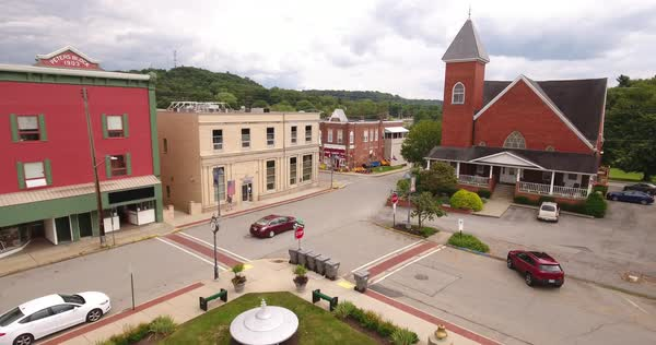 MARS, PENNSYLVANIA - Circa August, 2017 - An aerial view of the business district in the small town of Mars in western Pennsylvania.   Royalty-free stock video