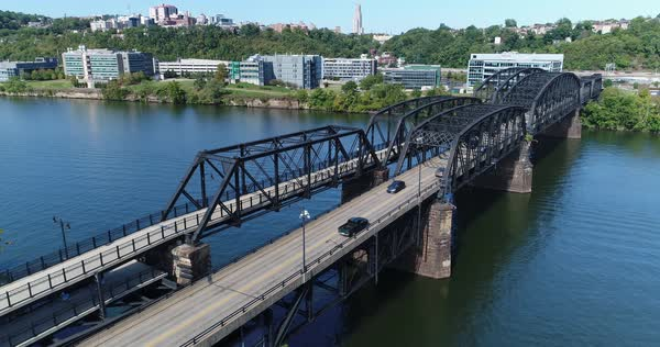 A slowly moving forward aerial view of the Hot Metal Bridge over the Monongahela River on Pittsburgh's South Side.   Royalty-free stock video