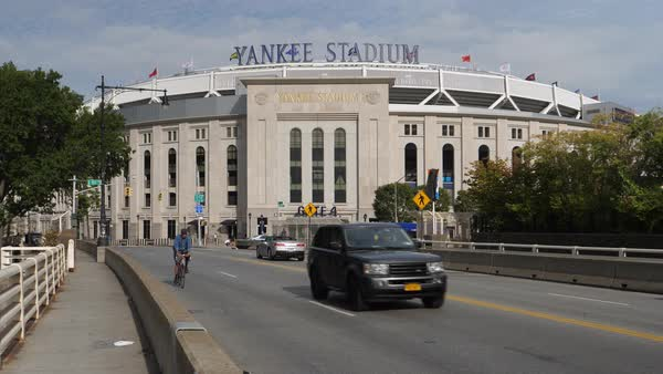 NEW YORK CITY - Circa October, 2017 - A daytime sunny exterior (DX) establishing shot of Yankee Stadium in the Bronx.   Royalty-free stock video