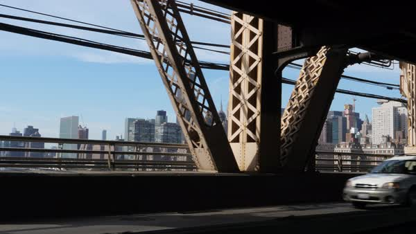 A passenger's perspective driving over the Ed Koch Queensboro Bridge with the Manhattan skyline in the distance.   Royalty-free stock video
