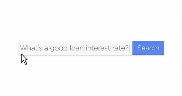 "A graphical Google-style web search box asking the question, ""What's a good loan interest rate?"" With optional luma matte. Royalty-free stock video"