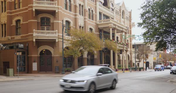 AUSTIN, TX - Circa December, 2017 - A daytime establishing shot of The Driskill Hotel in the historic district of Austin, Texas decorated for Christmas. Royalty-free stock video