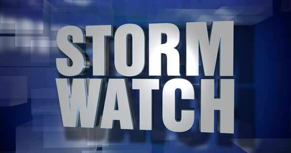 A blue dynamic 3D Storm Watch transition and title page animation. Royalty-free stock video