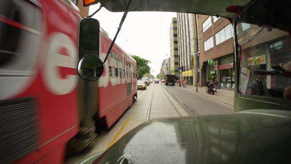 TORONTO, ONTARIO, CANADA - Circa June, 2014 - A forward view of driving in downtown Toronto, Canada. Royalty-free stock video