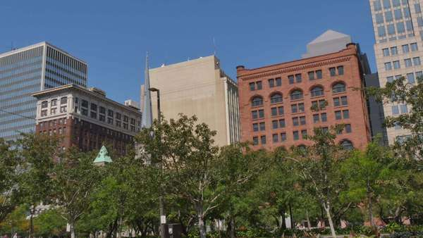 CLEVELAND, OH - Circa August, 2014 - An establishing shot of buildings in downtown Cleveland, OH. Royalty-free stock video
