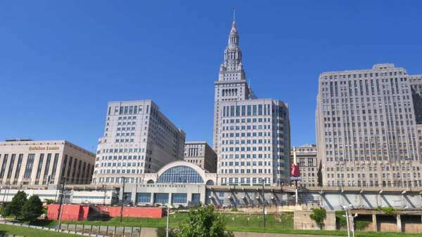 CLEVELAND, OH - Circa August, 2014 - An establishing shot of the Terminal Tower and the Tower City Center. Royalty-free stock video