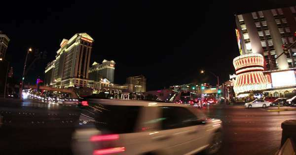 LAS VEGAS, NEVADA - October, 2012: A timelapse shot of a busy Las Vegas intersection at night. Royalty-free stock video