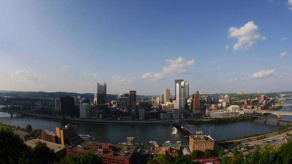A timelapse of the Pittsburgh skyline. Royalty-free stock video