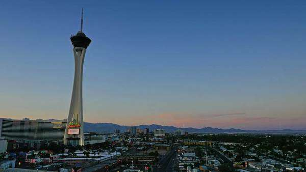 LAS VEGAS, Circa April, 2015 - A day-to-night time lapse of the sunset over the Las Vegas desert. Royalty-free stock video