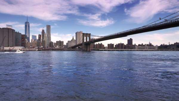 An establishing shot of lower Manhattan and the Brooklyn Bridge as seen from Brooklyn. Royalty-free stock video