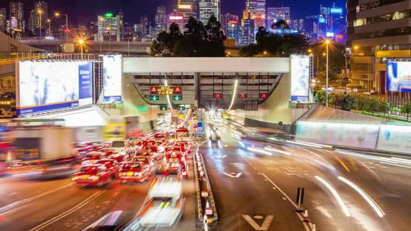 Timelapse video of cross harbour tunnel traffic in Hong Kong at night Royalty-free stock video