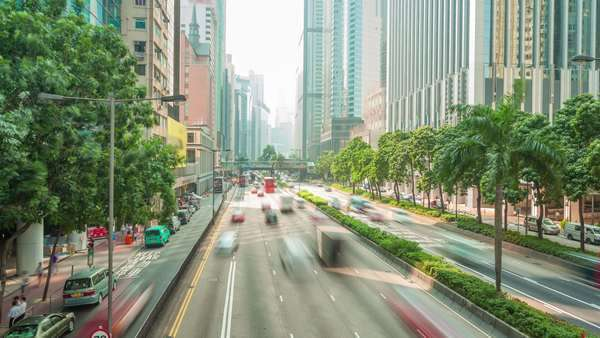 Hyperlapse of busy traffic and financial buildings in a city Royalty-free stock video