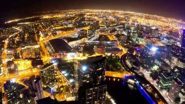 Timelapse video of Melbourne city at night, fisheye view, camera revolving Royalty-free stock video