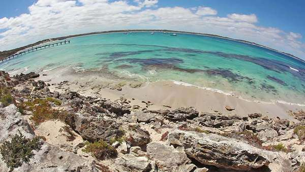 Timelapse of the Vivonne Bay on Kangaroo Island, South Australia, fisheye view Royalty-free stock video
