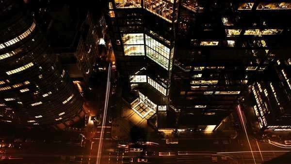 Night view of traffic among New York Skyscrapers Royalty-free stock video