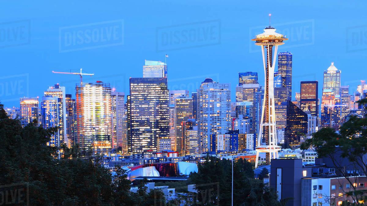 A View of Seattle, Washington skyline at twilight - Stock ...