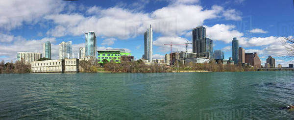 Panorama of the Austin, Texas, skyline on a sunny day Royalty-free stock photo