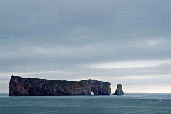 Perce Rock in the Gaspe, Quebec Royalty-free stock photo