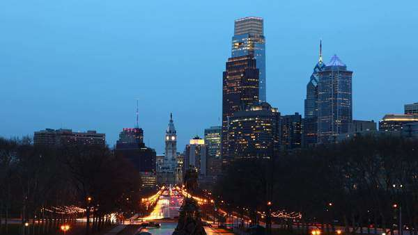 Philadelphia City center, day to night timelapse Royalty-free stock video