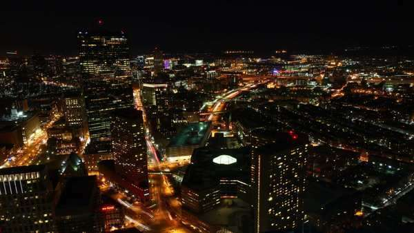Timelapse view of the Boston Skyline at night Royalty-free stock video