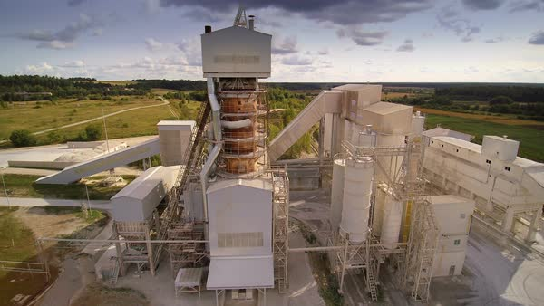 Tall and big pipes from the limestone factory Royalty-free stock video
