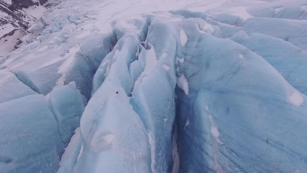 Aerial shot of glacier in Iceland, fly over. Rights-managed stock video