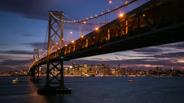 Timelapse twilight Bay Bridge, San Francisco. Rights-managed stock video