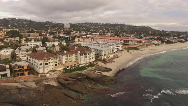 La Jolla Coves, Coast Aerial Fly Away Rights-managed stock video
