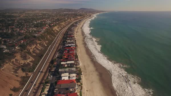 Aerial flyover beach Rights-managed stock video