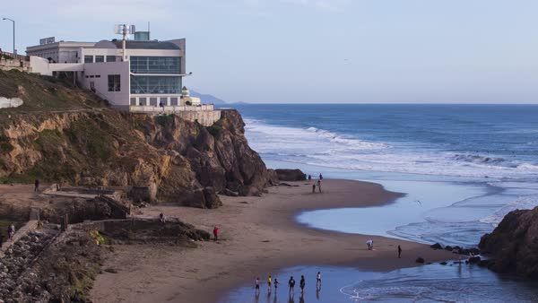 Cliff House and Sutro Baths, San Francisco Timelapse. Rights-managed stock video