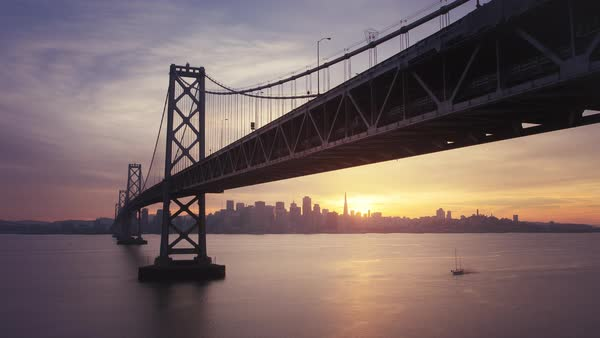 Long Exposure Bay Bridge timelapse, San Francisco at sunset. Rights-managed stock video