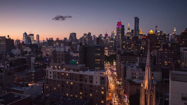 New York city sunset skyline hyperlapse  Rights-managed stock video