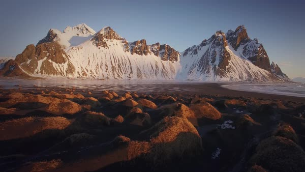 Iceland Vesturhorn Aerial Sunrise Rights-managed stock video