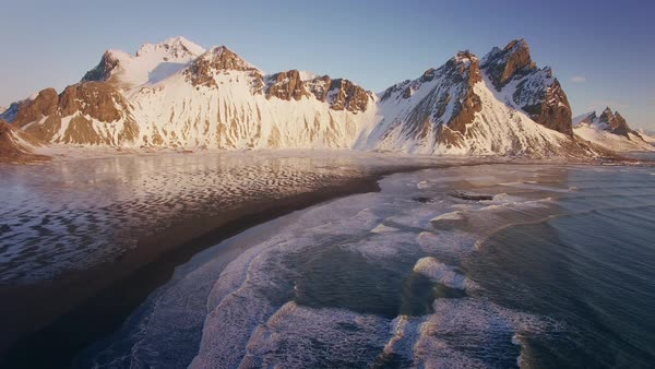 Iceland Vesturhorn Aerial Coast Sunrise Rights-managed stock video