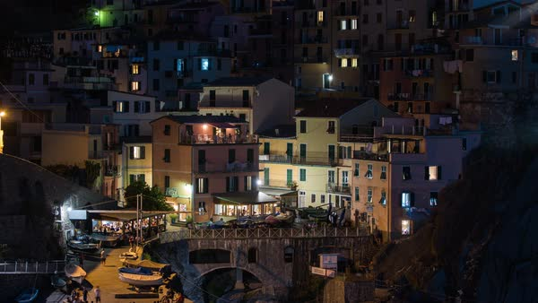 Manarola, Cinque Terre Italy, Night Town  Timelapse Rights-managed stock video