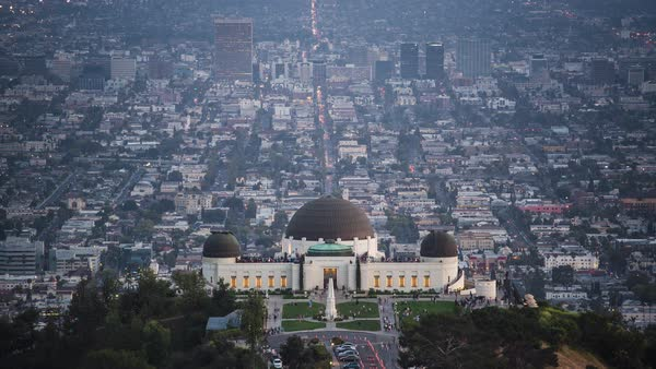 Griffith Park, Los Angeles City View, Day To Night, Sunset Timelapse Rights-managed stock video