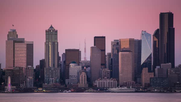 Downtown Seattle Close Up, Day to Night Timelapse Rights-managed stock video