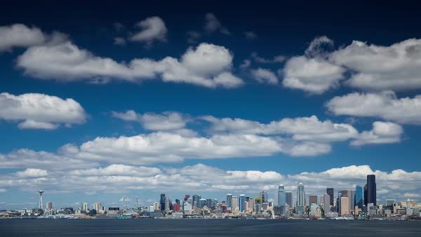 Seattle Harbor Skyline View with Clouds Timelapse Rights-managed stock video