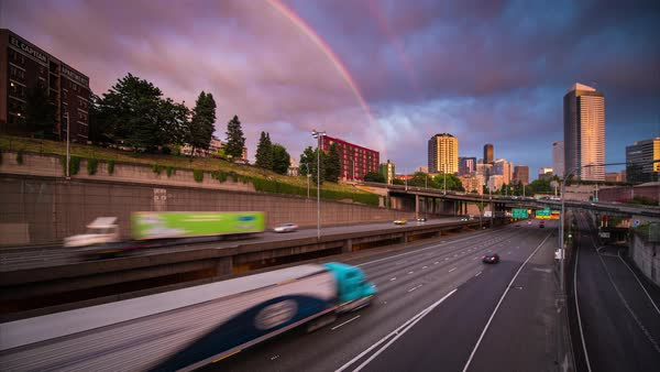 Seattle Rainbow Sunset over City Timelapse Rights-managed stock video