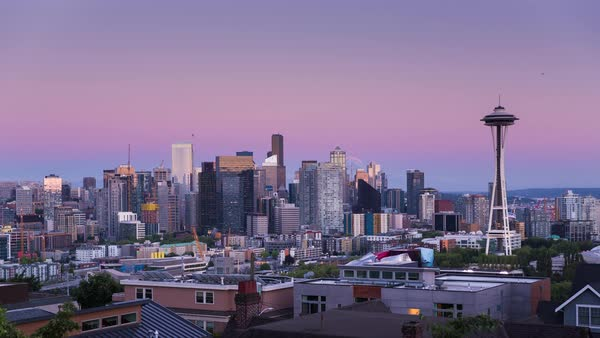 Seattle Kerry Park, Day to Night Sunset Timelapse Rights-managed stock video