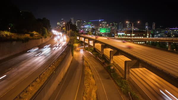 Downtown Seattle Night Freeway Skyline Timelapse Rights-managed stock video
