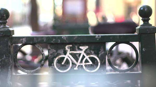 Close up shot of bikes in bicycle parking lot Royalty-free stock video
