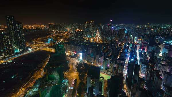 Night light city scape from Hong Kong roof top timelapse Royalty-free stock video