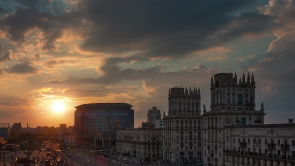 Sunset sky minsk city train station famous panorama time lapse belarus Royalty-free stock video