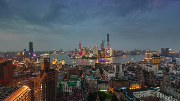Shanghai river bay sunset twilight roof top panorama 4k time lapse china Royalty-free stock video
